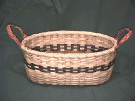 Bread Basket with braided leather handle